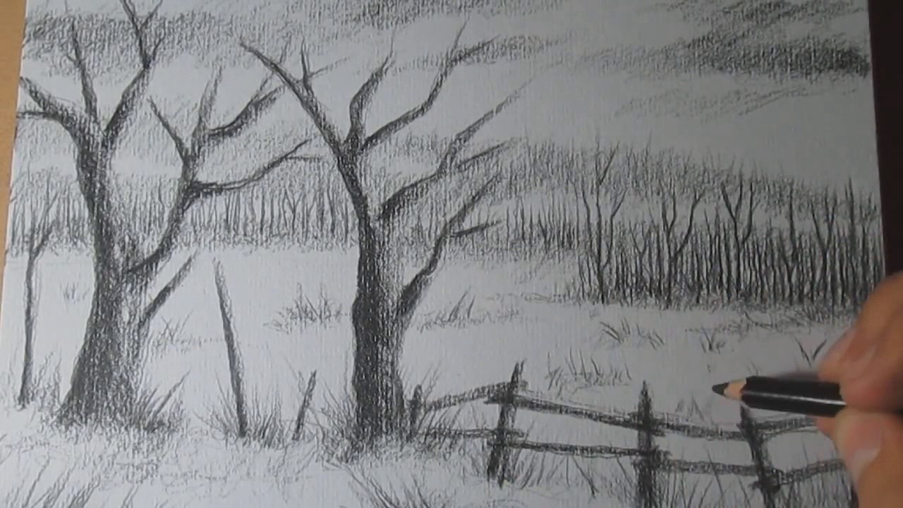 Scribble Drawing Easy : How to draw a landscape with charcoal pencil step by easy