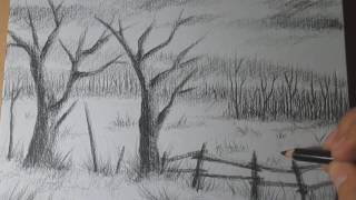 landscape charcoal drawings drawing easy pencil draw step scenery paintingvalley