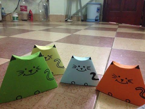 Đồ chơi trẻ em : Cách gấp mũ mèo bằng giấy