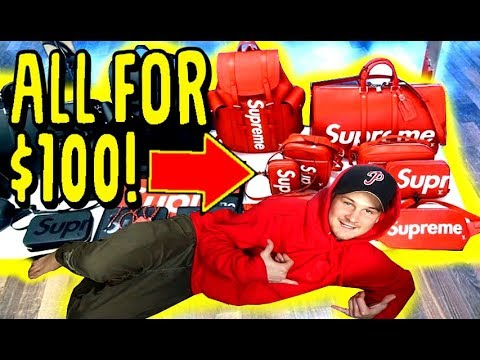 BUYING ALL THIS SUPREME FOR ONLY $100!! SCAMMING LITTLE KIDS AT SNEAKER CON
