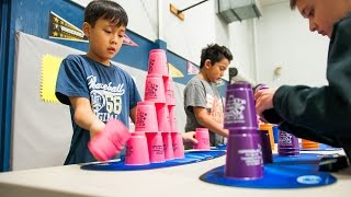 Students Participate in World Record Cup Stacking Event