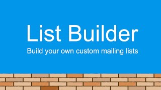 List Builder - Create Your Own Custom Mailing Lists