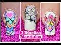 3 Diseños de uñas de mandalas Mandalas Nail art tutorial