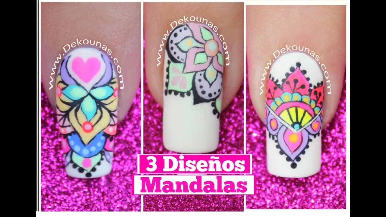 3 dise os de u as de mandalas mandalas nail art tutorial for Disenos de mandalas