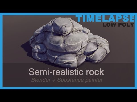 [Timelapse] Game art - Semi-realistic PBR low poly rock model | Blender, Substance Painter & Unity