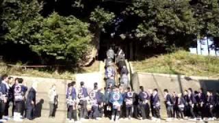 大和田時平神社の氏子を出迎える萱田町時平神社