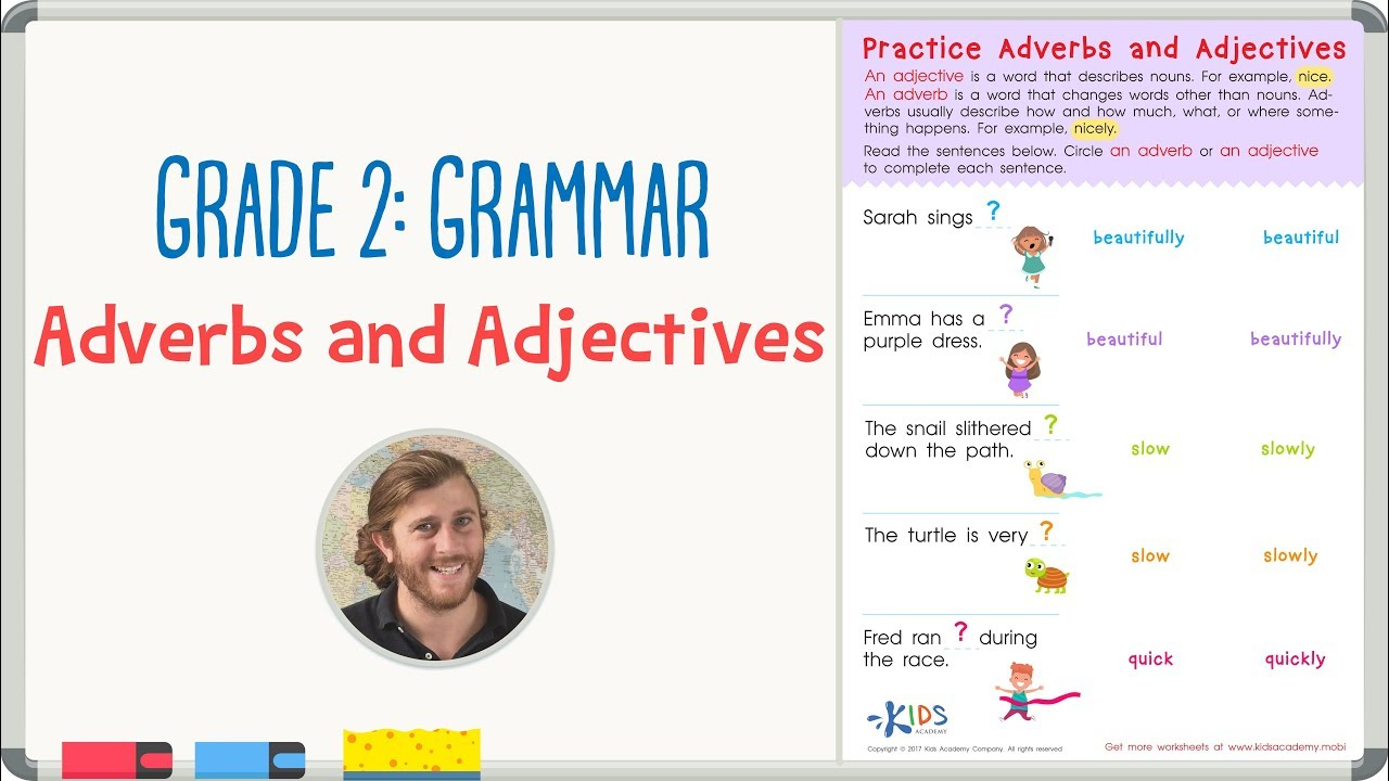 medium resolution of Grade 2: Grammar Practice - Adjectives and Adverbs Worksheet   Kids Academy  - YouTube