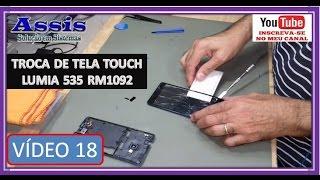 Como Trocar a Tela Touch Microsoft Lumia 535  RM 1092 V#18