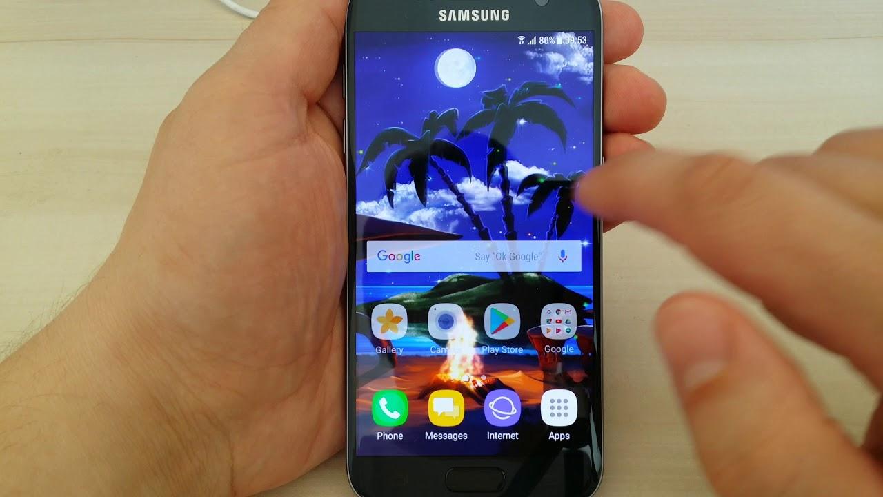 Screensavers For Samsung Galaxy S7: Tropical Beach At Night Live Wallpaper