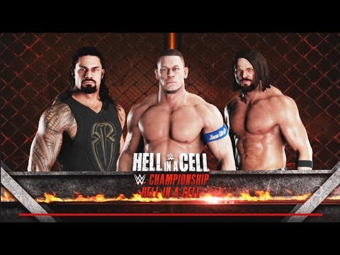 John Cena vs. Roman reigns vs A.J. Styles- WWE Hell In A cell Match:WWE-2K18-Gameplay thumbnail
