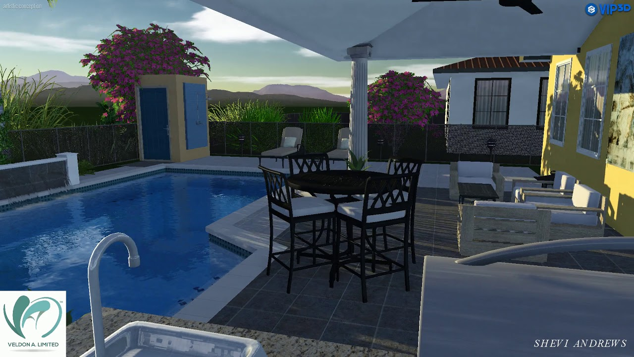 Swimming pool and entertainment area 3d rendering by veldon a limited youtube for Swimming pool entertaining areas