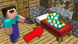 Minecraft NOOB vs PRO: WHY THIS COMPASS LEAD NOOB TO RAREST TREASURE IN BED? Challenge 100% trolling