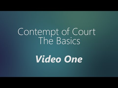 Contempt of Court The Basics - YouTube