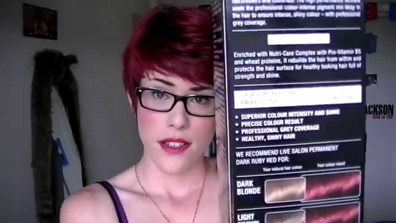 4d1b05e5312fff Dyeing pixie hair- Schwarzkopf LIVE Ruby Red - YouTube