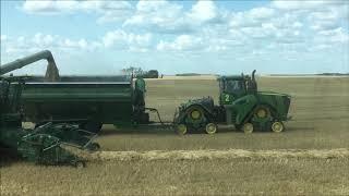 Combining barley with 4 x John Deere S790 combines