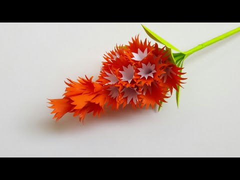 DIY PAPER FLOWERS ORANGE&WHITE FLOWER BUNCH FOR HOME DECOR/FLOWER VASE FOR FLOWERS/DECORATION