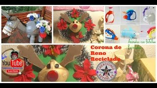 Corona de reno con Botellas Plásticas/Easy christmas craft a reindeer made of PLASTIC BOTTLES  🎅🎄