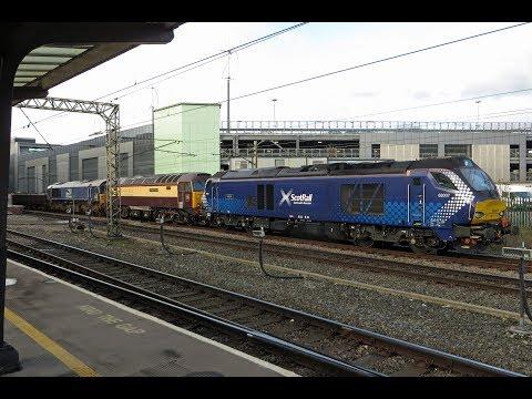DRS Convoy: 68007 leads 57305 & 66305 - 6K27, Preston 17/04/18.