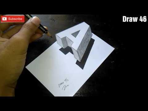 Cara Gambar Huruf A 3D Mudah Untuk Pemula, Simple - YouTube