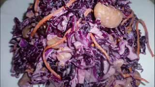 Сочный салатик из краснокочанной капусты с фасолью