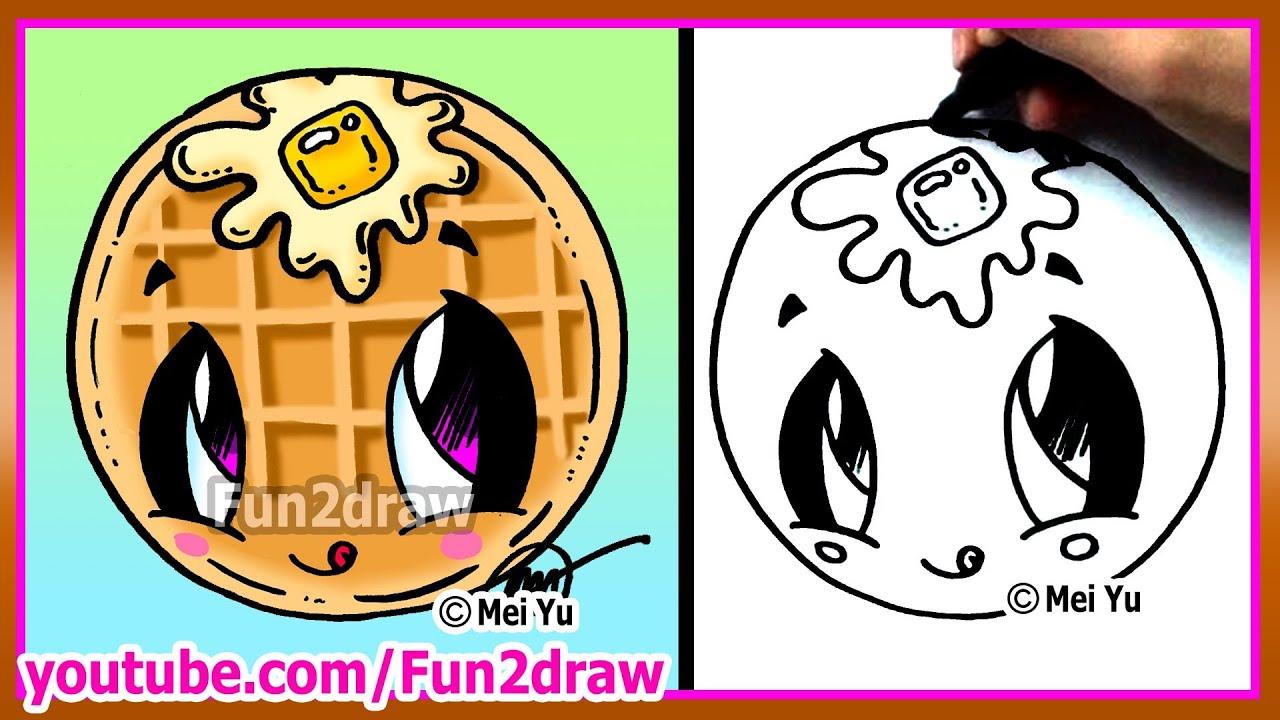 cute food waffle how to draw cartoons fun2draw kawaii