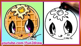Cute Food Waffle - How to Draw Cartoons - Fun2draw Kawaii