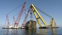 Salvage of sunken car carrier Tricolor
