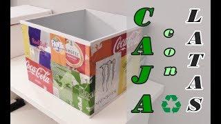 Caja organizadora reciclando latas de refrescos y cartón. Ideas DIY