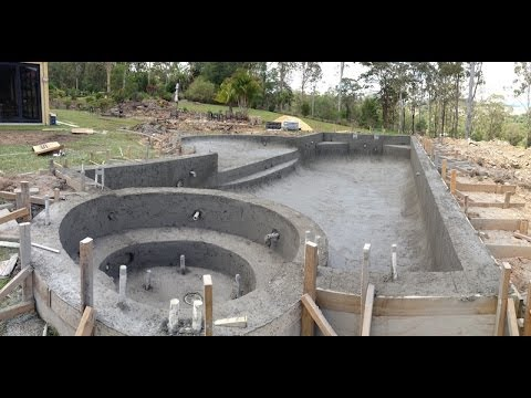 Swimming pool build concrete spray youtube - How to build a swimming pool slide ...