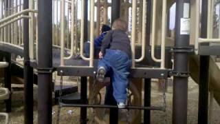 Jake is climbing the jungle gym at the zoo