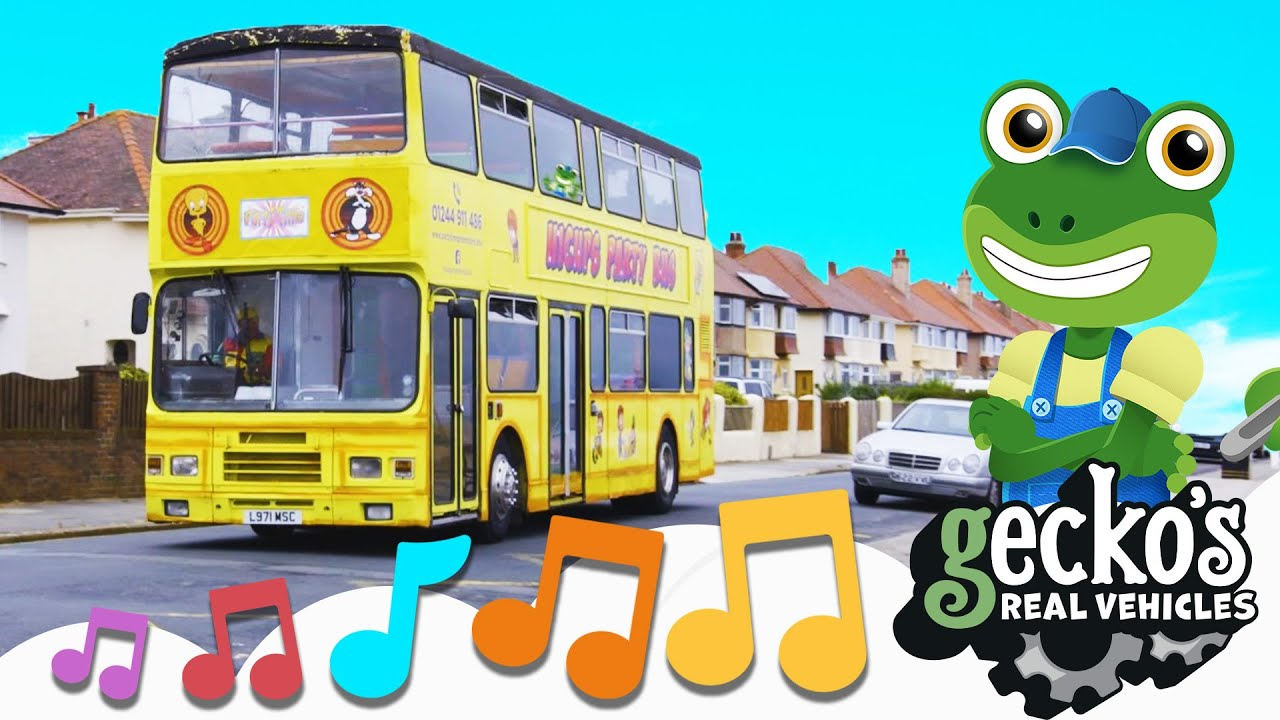 Party On The Party Bus Song|NEW Kids Music|Gecko's Real Vehicles|Trucks For Children