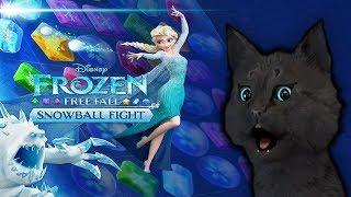 ХОЛОДНОЕ СЕРДЦЕ С ГОВОРЯЩИМ СУПЕР КОТОМ № 1 ( ИГРА для ДЕТЕЙ ) Frozen Free Fall: Snowball Fight