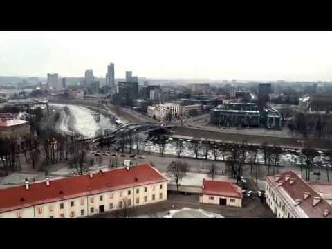 Ice move on Neris, Vilnius, Lithuania