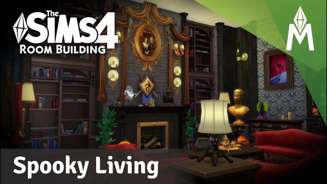The Sims 4 Room Building   Spooky Mansion Living Room   YouTube