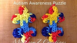 Rainbow Loom Autism Awareness Puzzle: How To