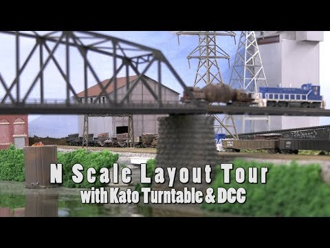 N Scale Train Layout, Great Scenery & Kato Turntable with DCC