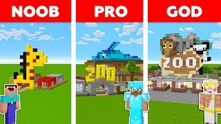 Minecraft Noob Vs Pro Vs God Zoo Park In Minecraft  Funny Animation