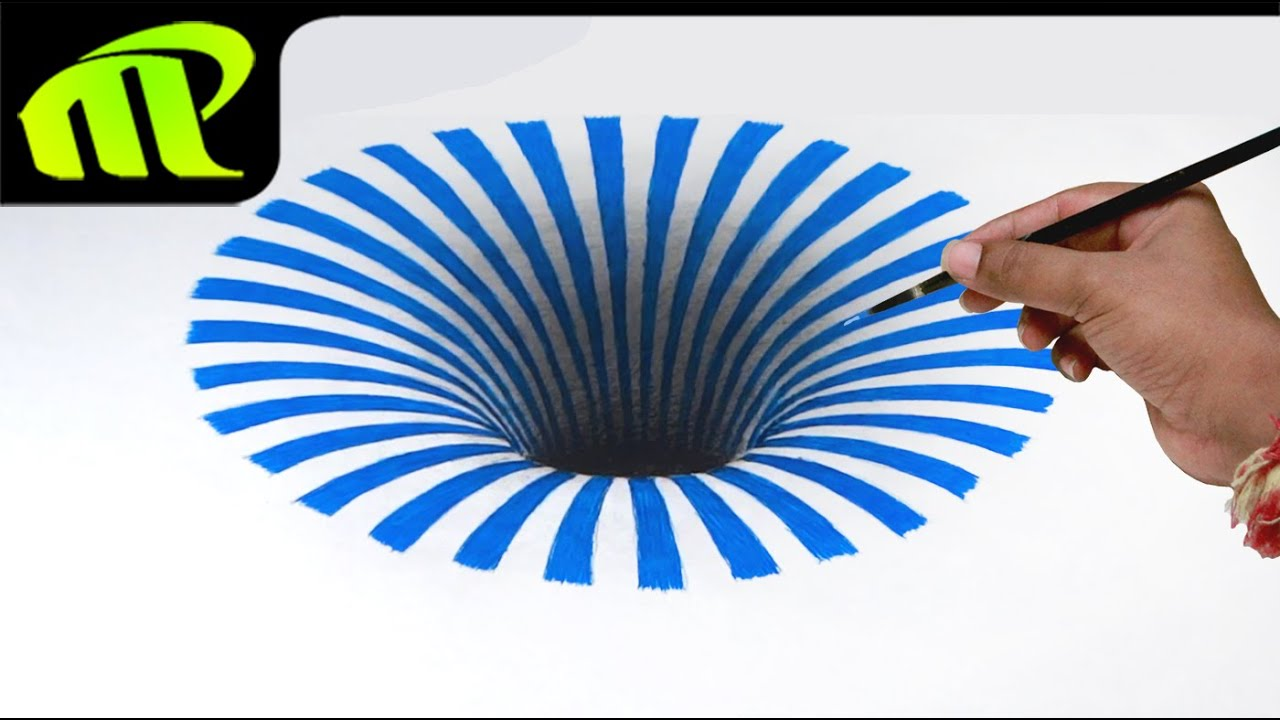 hole illusion 3d anamorphic drawing