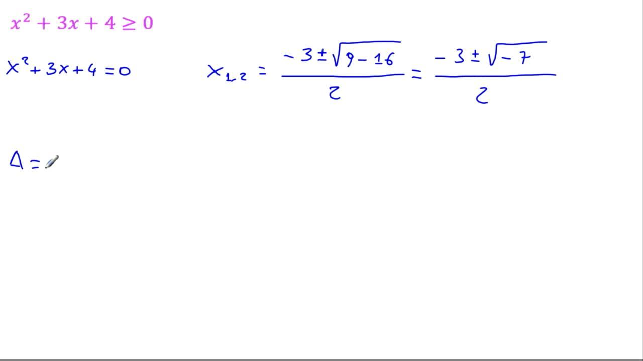 Disequazioni di secondo grado x 3x 4 0 delta minore - Tavola di tracciamento secondo grado ...