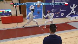 FE 2018 T32 15 M F Individual Yerevan ARM U23 European Championships RED LAHUNOU BLR vs BEM POL