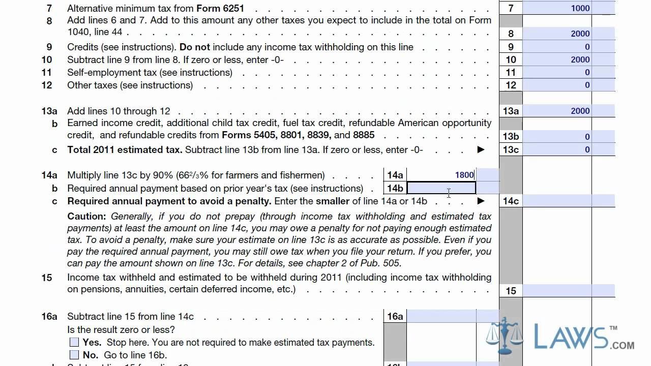 Learn How To Fill The Form 1040 Es Estimated Tax For Individuals
