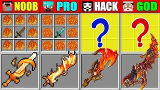 Minecraft NOOB vs PRO vs HACKER vs GOD FIRE SUPER SWORD CRAFTING CHALLENGE in Minecraft Animation