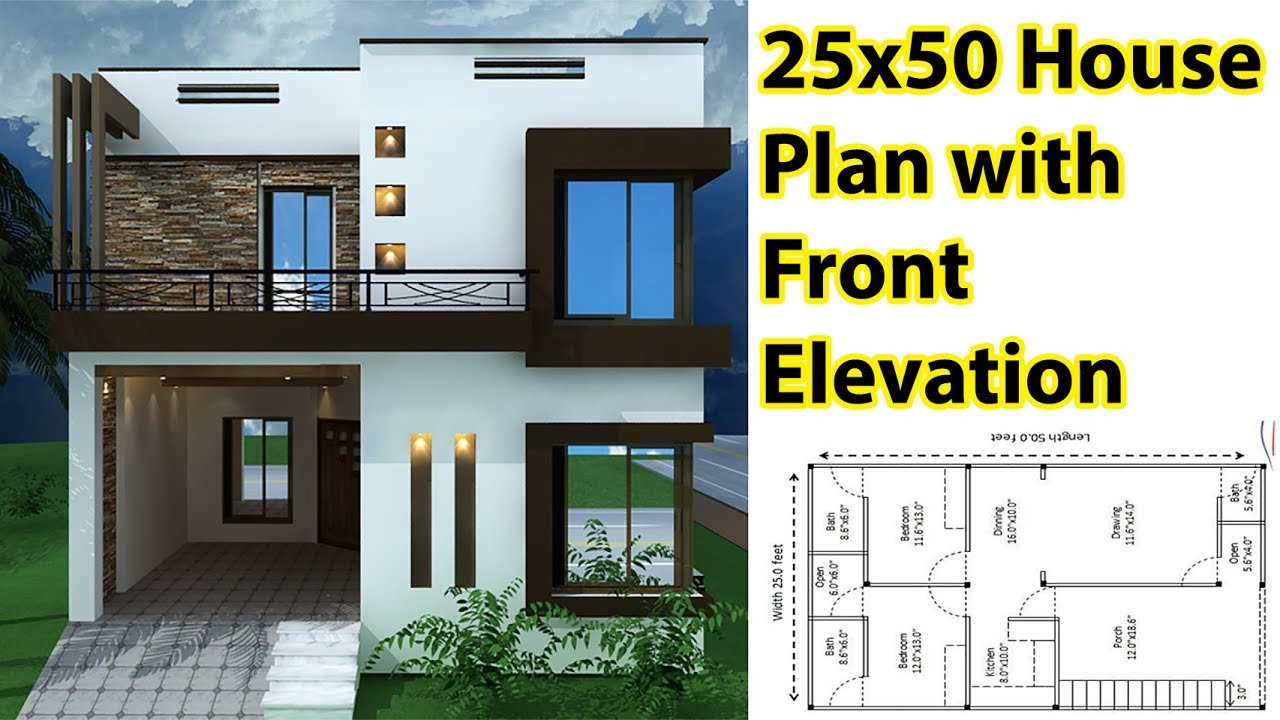 25x50 House Plan With Front Elevation 5 Marla House Plan