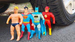 Experiment: Car vs Stretch Armstrong vs Superman vs Batman vs Flash and Balloons