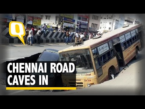The Quint: Chennai's Anna Salai Caves in, Bus and Car Trapped in Giant Crater