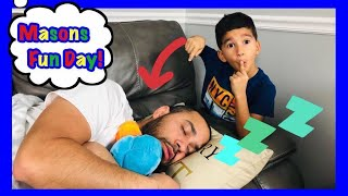 DON'T WAKE DADDY IN REAL LIFE CHALLENGE with Masons Fun Day!!!!!!!