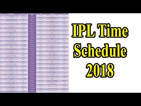 আইপিএল ২০১৮ সময়সূচী |  IPL 2018 Schedule |indian premier league time table 2018 |IPL Time Table 2018