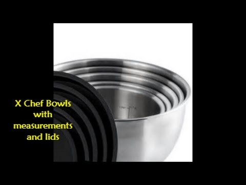 X Chef Stainless Steel Bowls- Set of 5 with Covers