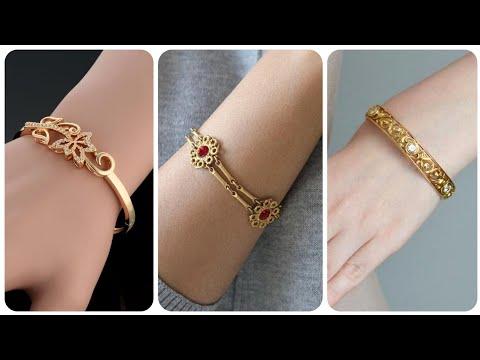 Latest And Stunning Light Weight Gold Bracelet Cut Paved Design 1 Piece Bracelet