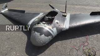 Syria: Russian MoD shows improvised militant drones used in failed base attack